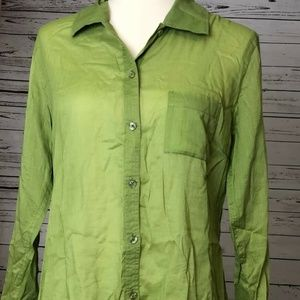 Chico's Tops - Chicos Small Shirt 8 10 Green Long Sleeve Button